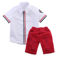 Wholesale Cotton Polo Shirt Kids - 2016 Kids Baby Boy Clothes fashion Polo shirt T-shirt Tops+Shorts Pants 2pcs casual suits Outfits cotton Set 2-6Y wholesale free shipping