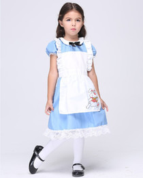 Wholesale Little Gilr s Holloween Alice Cosplay Color Match Tutu Skirts cartoon Set Kids Festival Costumes children apron clothing CSGZ003