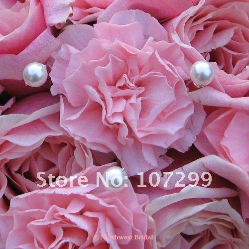 top popular FREE SHIPPING wholesale 50pcs Pearls White Rhinestone Wedding Bouquets Bridal Stem Jewelry 2019