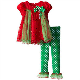Wholesale Toddler Pants Tutu - 2016 wholesale christmas clothing kids gold dot tshirts + ruffle pants girls boutique sets toddler baby Christmas outfit spring fall clothes