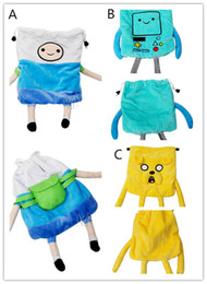 Wholesale Cartoon Arms - Adventure Time cartoon stereo Plush Drawstring bag Finn Jake Beemo plush draw string Pouch with arms and legs Cute cartoon buggy bag Xmas