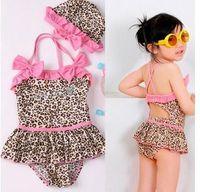Wholesale Girl Leopard Print Bikini Swimwear - girl 2-piece leopard Swimwe zebra print girls swimsuit swim pool itemsbath kids baby swimwear,coats,