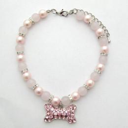 $enCountryForm.capitalKeyWord Australia - Dog cat Beads Necklace Collar Bling Rhinestones Bone Charm Pendant Handmade Pet Puppy Jewelry 3 sizes 2 colours