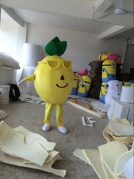 dibujos animados reales Rebajas Fotos reales traje de la mascota de limón amarillo tamaño adulto limón cítrico ropa de dibujos animados frutas vestido de fiesta de la mascota de navidad