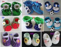 Wholesale Hand Knitted Baby Shoes - Knitting booties Featured HANDMADE baby Crochet shoes boots,hand-crocheted first walker shoes for infants kids,styles