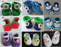 Wholesale Knit Boots For Kids - Knitting booties Featured HANDMADE baby Crochet shoes boots,hand-crocheted first walker shoes for infants kids,styles