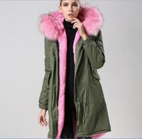 Wholesale Military Parka Fur Hood - Pink fur army parka Mr & Mrs Italy Fur-Trimmed Long Military Canvas Parka MR & MRS FURS rabbit fur lined shell Long coats