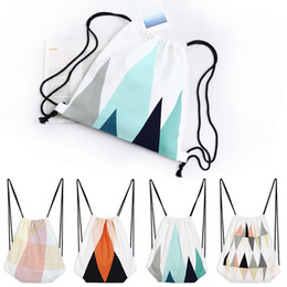 Wholesale Plum Tie - Newest drawstring printed Geometric patterns canvas fabric backpack cotton shoulder bag hiking traveling shopping bag free shipping