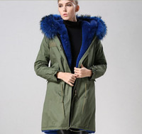 Wholesale Military Parka Fur Hood - Blue fur army green Mr & Mrs Furs fox fur Military Canvas parka in Green Winter Long coats Mr & Mrs itlay coats