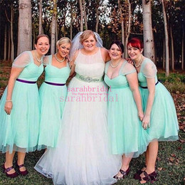 $enCountryForm.capitalKeyWord NZ - 1950s Vintage Mint Short Bridesmaid Dresses 2019 Summer Tulle Tutu Tea Length Skirt Wedding Boho Party Guest Wear Plus Size Homecoming Gowns