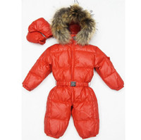 Wholesale Winter Snowsuits For Babies - baby girl jumpsuits Russia winter baby clothing winter coats snow wear duck down jacket ,snowsuits for kids boys girls clothes free shipping