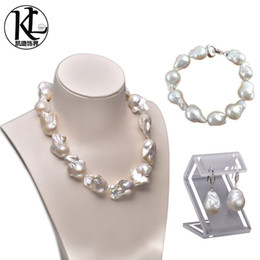 Wholesale Huge Freshwater Pearls - women freshwater pearl set jewelry huge size baroque pearl high quality natural cultured freshwater pearl set necklace bracelet and earrings
