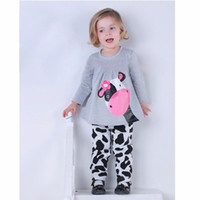 Wholesale Cow Neck Shirt - 2017 Autumn Winter Baby Girls Clothes Sets Kids Casual Long-sleeved T-shirt+Pants Suit Tracksuit the Cow Boys Girl Suits