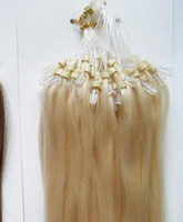 """Wholesale Micro Loop Extensions Medium Brown - MIRACLE STOCK 18"""" 20"""" 22"""" 100g #613 Silicone Micro Ring Loop Hair Extensions Indian Human REMY Hair"""