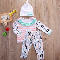 Wholesale Zebra Print Baby Girl - 2016 fashion baby suits 3pcs Newborn children boys Girls long sleeve Tops tshirt+personalized logo printed Pants+Hat Outfits Set Clothes