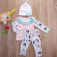 Wholesale Cute Boys Tshirt - 2016 fashion baby suits 3pcs Newborn children boys Girls long sleeve Tops tshirt+personalized logo printed Pants+Hat Outfits Set Clothes