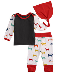 Wholesale Girl Outfits Korean - autumn winter baby suits Unisex Boy Girl Deer Top T-shirt+Pants+hat 3pcs korean style kids Coming Home Outfits top Set Costume free shipping