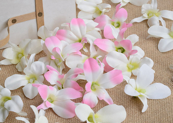 50pcs Silk orchid accessories Artificial Orchid Flowers Heads Garland to make wedding kissing ball,hair clips,door wreath,chair decoration