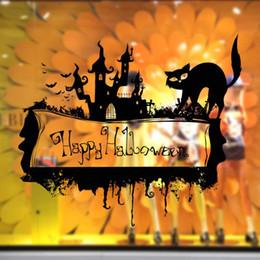 Wholesale Plaque Designs - Black Halloween Plaque Cat Castle Wall Stickers Store Window Glass Decor Wallpaper Poster Festival Decoration Wall Decals Removable PVC Art