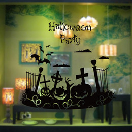 christian home decor wall art UK - Halloween Pumpkin Face Wall Stickers Bat Christian Cross Wall Decals Home Decor Wall Appliques Window Glass Festival Decoration Wallpaper