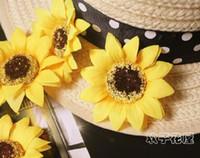 crisantemo amarillo de seda al por mayor-Seda Sunflwoer Cabeza de Flor 100p Flores Artificiales Girasoles de Color Amarillo Crisantemo Daisy Niños DIY Joyería Boda Navidad