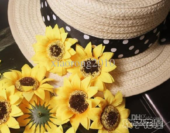 500p Silk Artificial Yellow Sunflower Silk Daisy Flower Heads Plastics Gerbera Blommor för bröllop Juldekoration 7cm