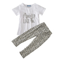 Wholesale Leopard Print Tshirts - Wholesale ins Boys Girls Childrens Clothing Sets Letters Short Sleeve tshirts Printed Leopard Casual Pants 2 Set Kids Clothes Outfits