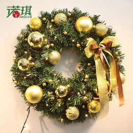 2016 home decoration hanging wall door mounted christmas garland high quality pvc material party ornaments christmas wreath with led light - Wall Mounted Christmas Tree