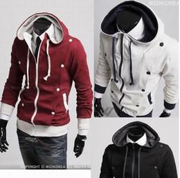 Wholesale Red Hoodie Zipped Mens - New Slim Sexy Top Designed Zip up Mens Hoodies Jacket Coat Colour:White Black Red N81