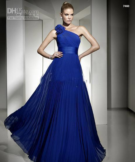 Sexy Royal Blue Evening Dresses Chiffon One Shoulder With Flowers ...