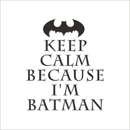 Wholesale wall stickers batman - Wholesale DIY Keep Calm Batman Wall Sticker Easily Apply Removable & Waterproof PVC No Pollution Kids Baby Room Decoration Wall Decor 20x17""
