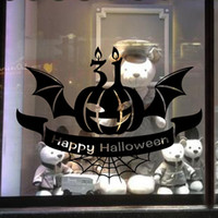 Halloween Pumpkin Bat Stickers muraux Magasin de fenêtre en verre mur Art Mural festival d'affiches DIY Decor Pumpkin Light Wall Applique Fond d'écran affiche