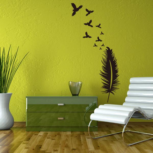 Acheter Creative Mur Plume Noire Autocollants Accueil Décoration Intérieure  Papier Peint Baldaquin Living Chambre Wall Art Mural Bricolage Décoration  ...