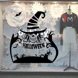 Graphisme de magasin d'autocollants en Ligne-Noir Fantôme Mains Bat Stickers Muraux Halloween Store Fenêtre En Verre Décor Mur Art Affiche Murale Festival Papier Peint Autocollants Décoration Graphique