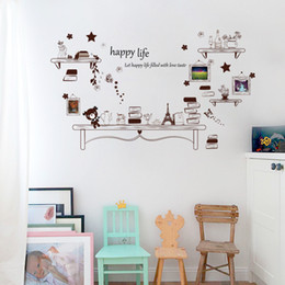 Fake Shelves Star Bear Eiffel Tower Butterfly Photo Frame Wall Stickers Living Room Bedroom Vintage Decor Decal DIY Home Decoration Art