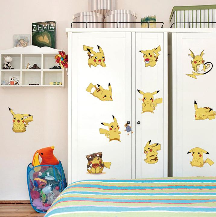Cartoon Pikachu Dog Wall Stickers Kids Room Nursery Wall Decor Wallpaper  Poster Cabinet Luggage Wall Applique Stickers Diy Home Decoration Room  Stickers ... Part 72