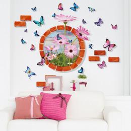 Gráficos circulares online-Estéreo de ladrillo redondo círculo flores mariposa pegatinas de pared decoración del hogar arte de la pared cartel mural apliques de pared decorativos apliques gráfico de la pared