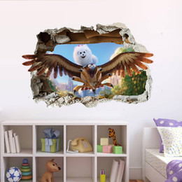 $enCountryForm.capitalKeyWord Canada - Cartoon Birds Cat Wall Stickers Cat on Birds Flied through the Window Wall Stickers Kids Boys Girls Room Nursery Wall Applique Poster