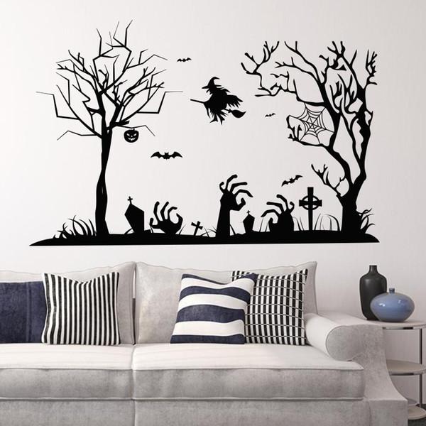 "Wholesale Happy Halloween Witch Tree Wall Sticker All SaHalloween Carnival Bints' Day Home Wall Decor Waterproof Wallpaper 22.4x34.6"""