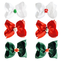 "Wholesale Ribbons Clips - 18 Pcs lot 5"" Handmade Christmas Solid Ribbon Hair Bow for Kids Girls Toddler Boutique Holiday Hair Accessories with Alligater Clip"