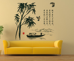 Wholesale Plants Nature - Chinese Characters Boat Mountains Bamboo Wall Stickers Oriental Culture Wall Decals DIY Home Decoration Wall Graphics Abstract Scenery Mural