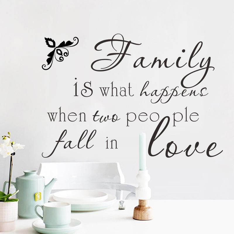 Family is what happen when two people fall in love Wall Stickers Quote Living Room Bedroom Wall Paper Poster English Proverb Wall Decals Art