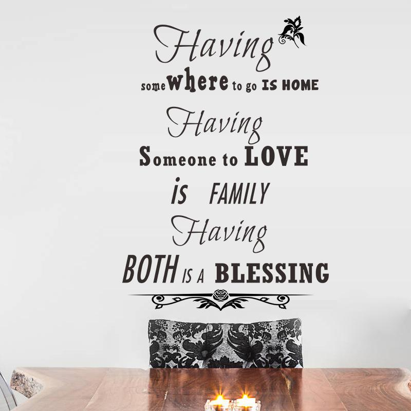 Home Love Blessing English Proverb Wall Stickers Quote