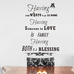 Wholesale Bless Home Wall Quote - Home Love Blessing English Proverb Wall Stickers Quote Living Room Bedroom Having Wall Decals DIY Home Decoration Wallpaper Poster Art Mural