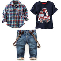 Wholesale Boys Jeans Outfit - Wholesale Boys Childrens Clothing Sets Spring Autumn Plaid Shirts Cartoon Printed tshirts Jeans 3 Piece Set Kids Clothes Outfits