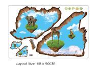 Wholesale Vinyl Wall Art Applique - Creative 3D Island Elephant Giraffe Wall Stickers Living Room Bedroom Wall Floor Decor Wallpaper Poster Removable PVC Wall Applique Mural