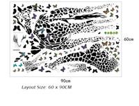 ingrosso sala tv arte pittura-Giraffa farfalla parete di schizzo del tatuaggio camera dei bambini vivaio immaginazione pittura murale diy decorazione della casa adesivi murali creativo stickers murali art
