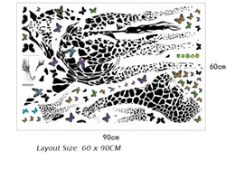 Wholesale tattoos for wall - Giraffe Butterfly Sketch Wall Tattoo Kids Room Nursery Imagination Wall Painting DIY Home Decoration Wall Stickers Creative Wall Decals Art