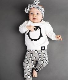 Wholesale Penguin Pant - INS 2016 Autumn Baby girls sets Cute penguin outfits Fashion infants clothes Long sleeve T Shirts + Pants+Headband 3pcs sets Free Shipping
