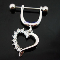 Wholesale Dangle Design Belly Ring - 0582 heart design nipple ring Belly Button Navel Rings Body Piercing Jewelry Dangle Accessories Fashion Charm (10pcs lot) JFB-6153